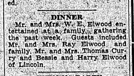 Mention of W E Elwood, Ray Elwood and Bessie and Harry Elwood, NE  1946 -
