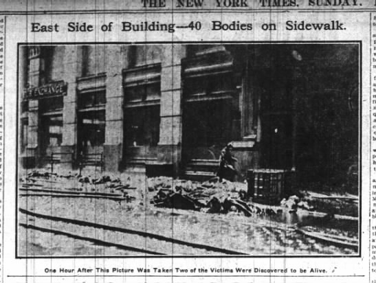 40 bodies on sidewalk outside of Triangle Shirtwaist Factory building -