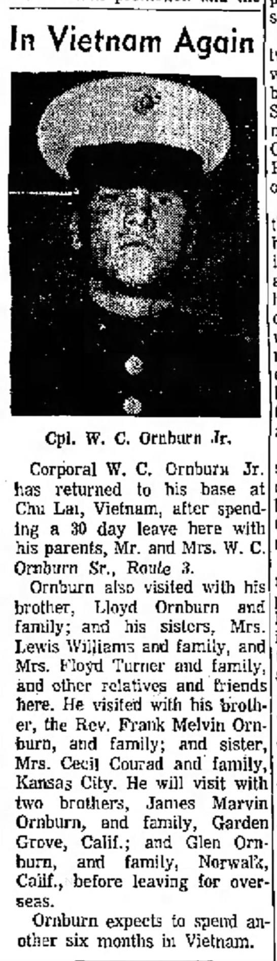 Bill Ornburn back to Veitnam -