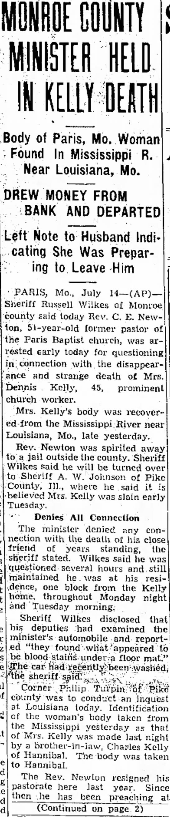 Sheriff Russell Wilkes article regarding Kelly death -