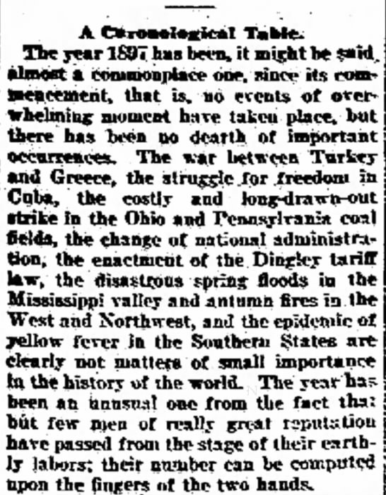 """1897 in Retrospect: A """"Commonplace"""" Year -"""