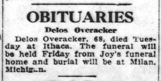 Lansing State Journal Thu May 7 1925 P13 Obituaries Delos Overacker Newspapers Com
