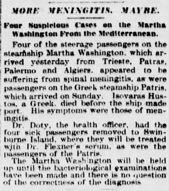 Meningitis on the Martha Washington 1911 -