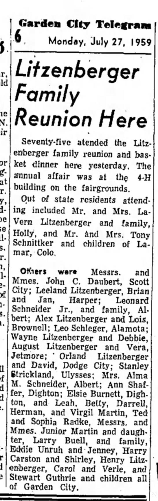 Litzenberger Family Reunion Garden City Kansas -
