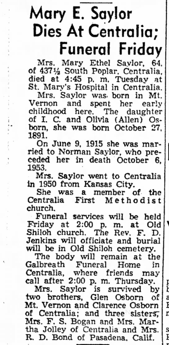 - Mary E. Saylor Dies At Centralia; Funeral...