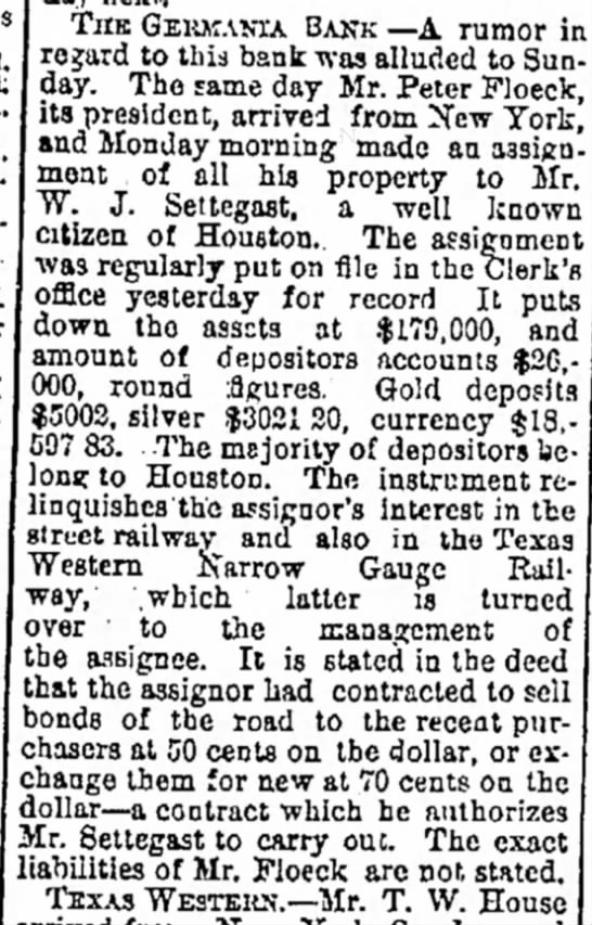 More Business news as of Nov 27, 1877 as reported in the Galveston Daily News -