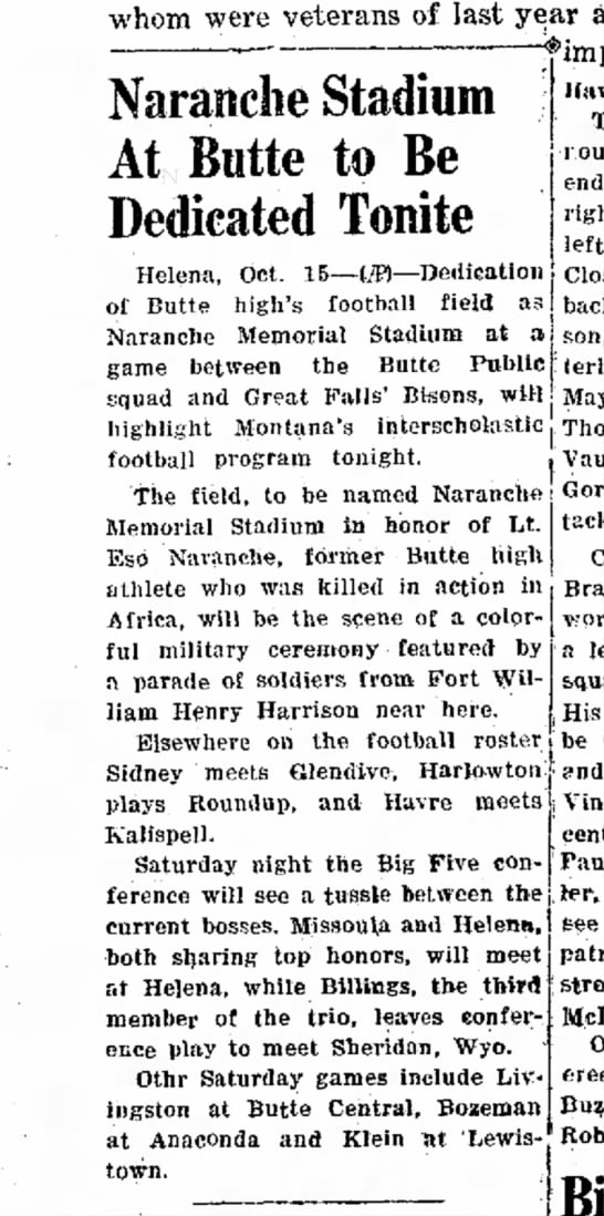 15 October 1943 - whom were veterans of last Naranche Stadium...