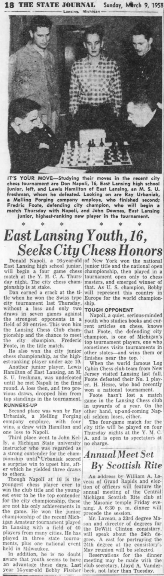East Lansing Youth, 16, Seeks City Chess Honors -