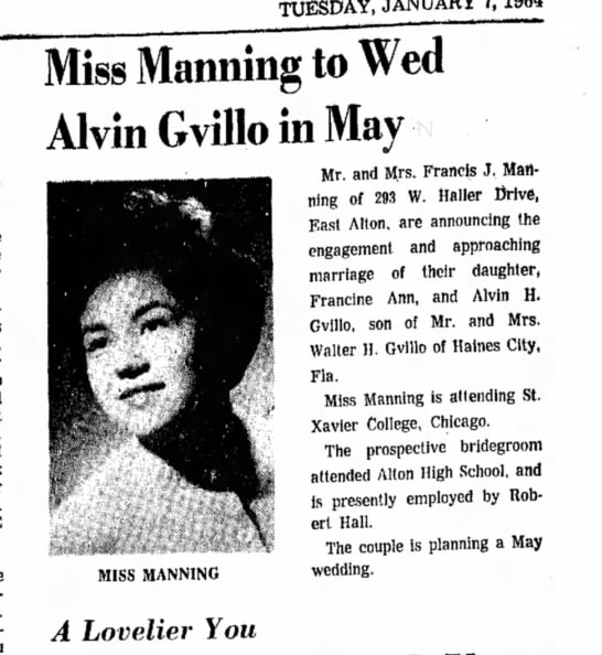 Francine Manning, Wedding Announcement - TUESDAY, JANUARY 7,1964 Miss Manning to Wed...