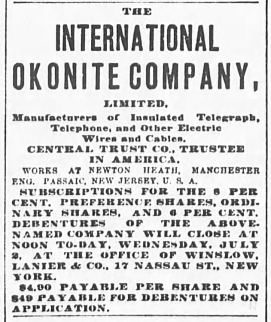 International Okonite Company, Ltd. -