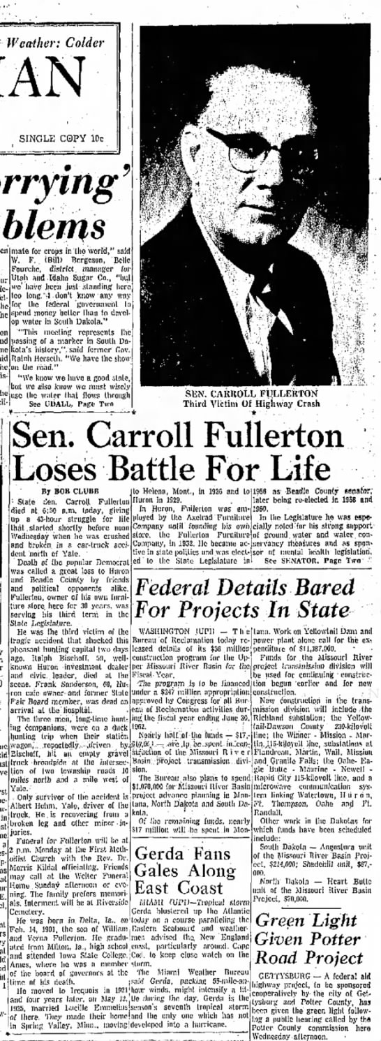 Carroll Fullerton Dies in Car Accident - Oct 1961 pg 1 - Weather: Colder Plains SINGLE COPY lOc Worrying...