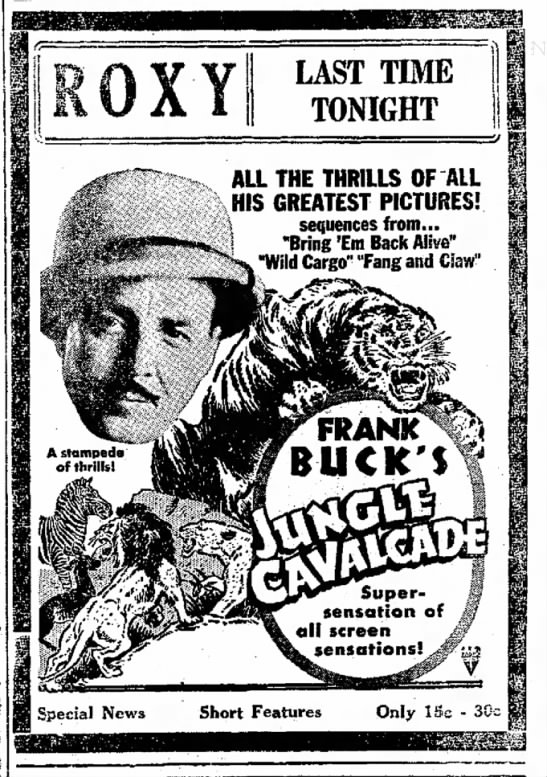 Frank Buck Ad 1-17-1942 - the Now- Landville, LAST TIME TONIGHT ALL THE...