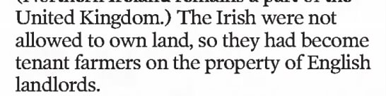 Irish became tenant farmers on English property -