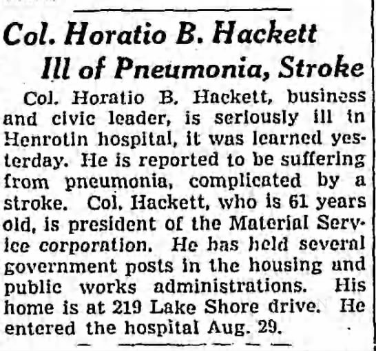 Col. Horatio B. Hackett Ill of Pneumonia, Stroke -