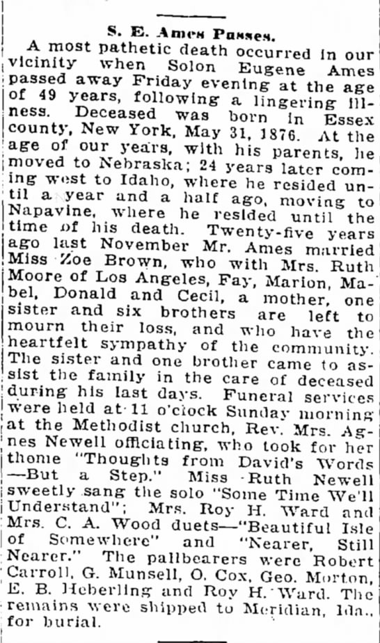 The Chehalis Bee-Nugget 1/15/1926  Obit for Solon Eugene ames -
