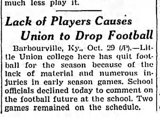 Lack of Players Causes Union to Drop Football -
