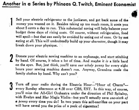 Practical Energy-Saving Advice from Phineas Q. Twitch -