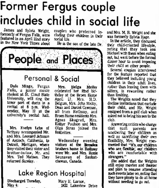 James & Sylvia Wright - Former Fergus couple includes child in social...