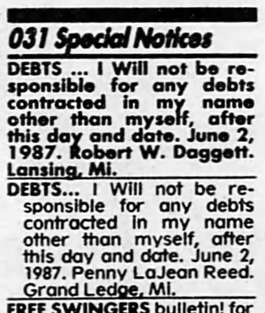 Penny Reed Special Debt Notice - Newspapers com