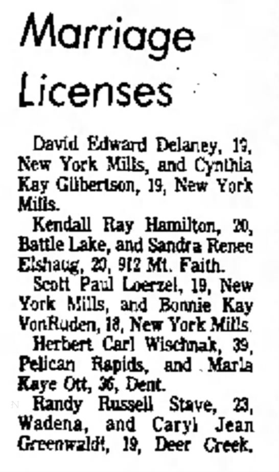 21 Sep 1976 - Marriage Licenses David Edward Delaney, 19, New...