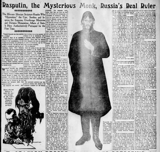 """""""Rasputin, the Mysterious Monk, Russia's Real Ruler"""" 1914 -"""