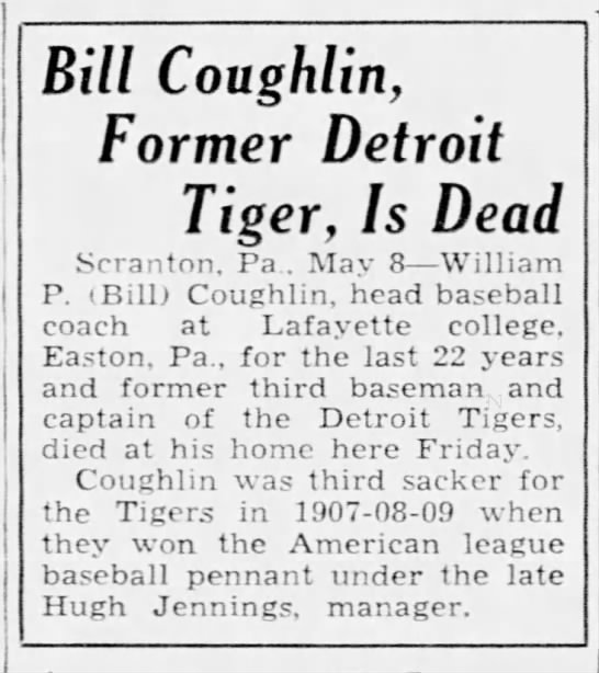 Bill Coughlin, Former Detroit Tiger, Is Dead -