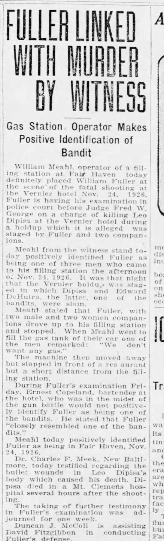 Fuller-Vernier Hotel-Fair Haven-murder -