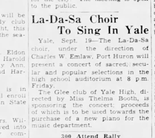 19 Sept 1939 La-Da-Sa Choir Port Huron Times Herald -
