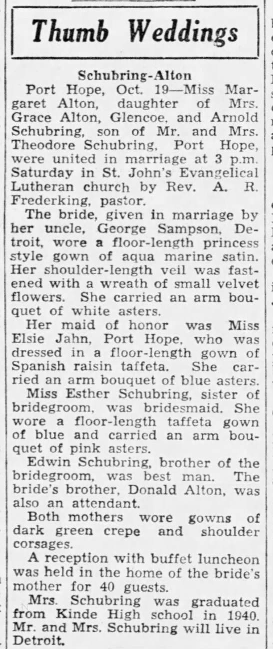 George Sampson walks niece down the aisle PHTH October 20 1940 pg 7 -