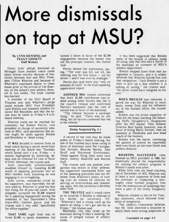 More dismissals on tap at MSU? -