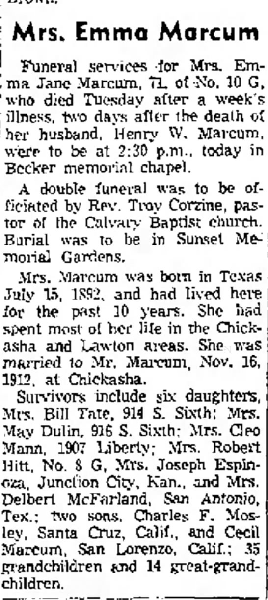mrs emma marcum - Mrs. EmtTIQ MarCUITI I Funeral services -for...