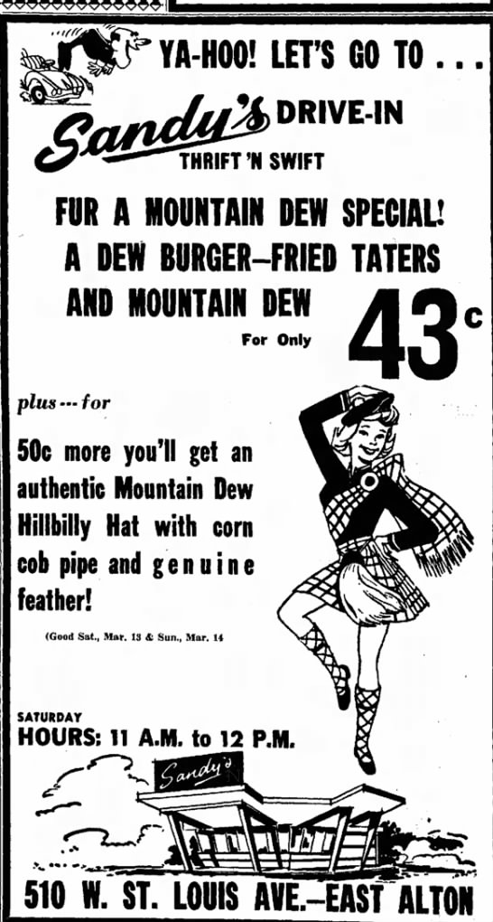 Mountain dew hat,corncob pipe and authentic feather----alton,illinois march 12,1965 -