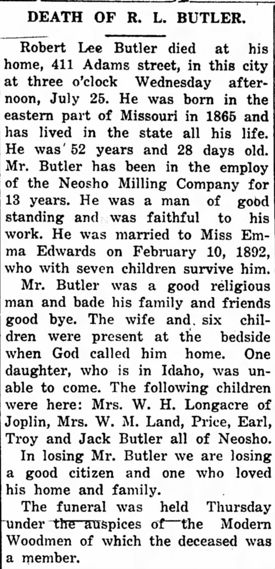 Robert Lee Butler obituary - DEATH OF R. L. BUTLER. Robert Lee Butler died...