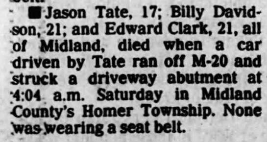 Billy Davidson fatal auto accident 1986 - Newspapers com