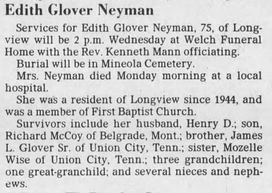 NEYMAN, Edith Glover obit -