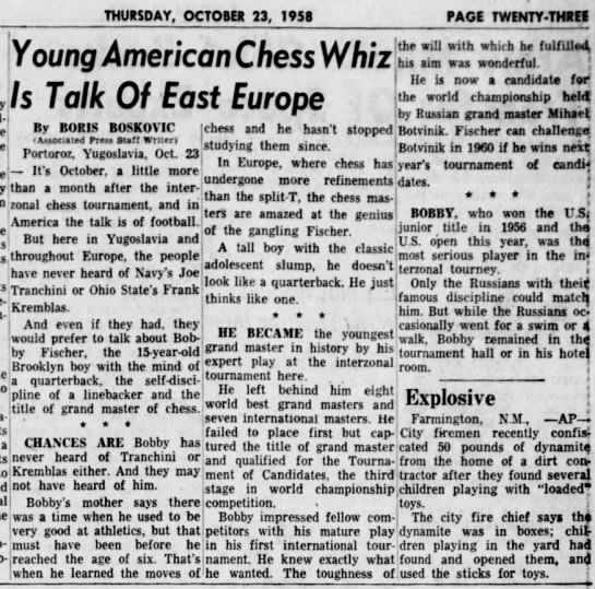 Young American Chess Whiz Is Talk of East Europe -