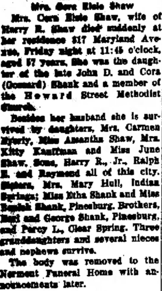 "Obituary: Mrs Cora Elsie Shaw. ""The Morning Herald (Hagerstown, MD)"", 19 Jan 1952. p 16. col 1. -"