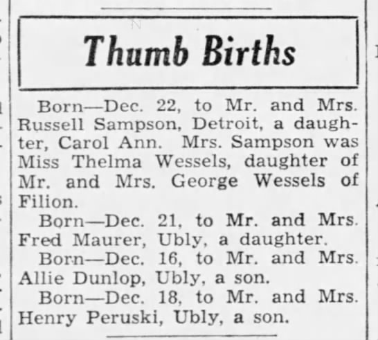 Carol Ann Sampson birth announcement PHTH December 26 1940 pg 15 -