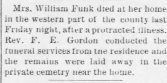 1896 Death announcement of Mrs. William Funk (nee Mary Small) -