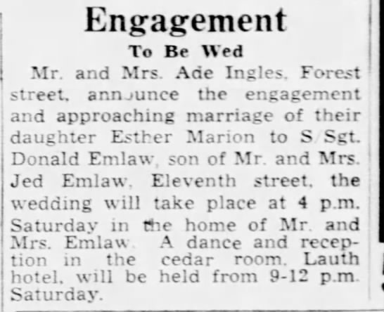 10 July 1945 Don and Esther Engagement Port Huron Times Herald -