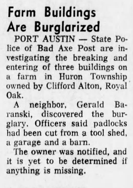 Clifford Alton barns burglarized PHTH October 12 197 pg 14 -
