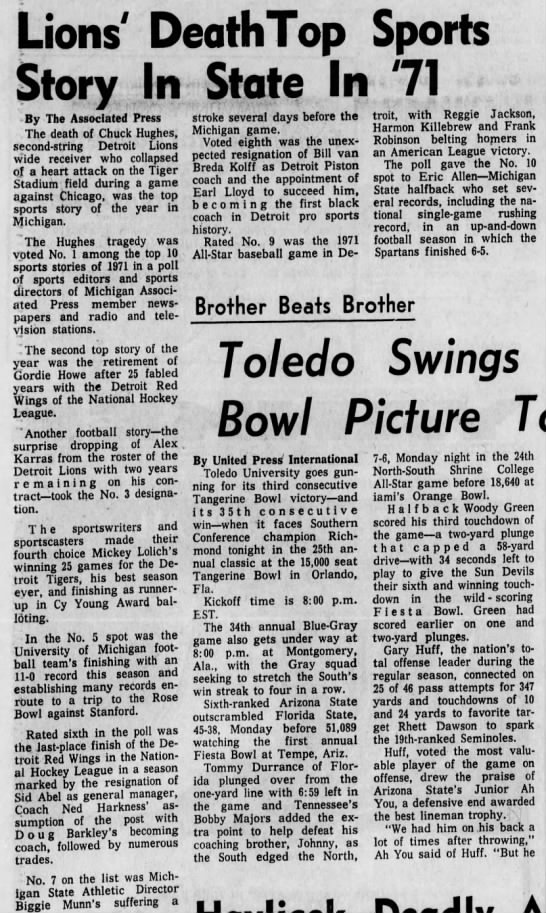 Lions' Death Top Sports Story In State In '71 -