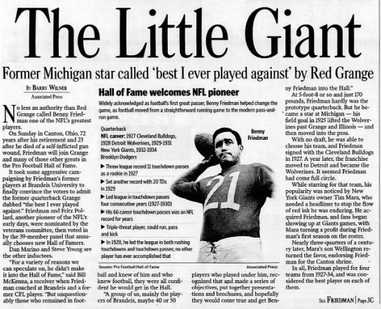 The Little Giant: Former Michigan star called 'best I ever played against' by Red Grange -