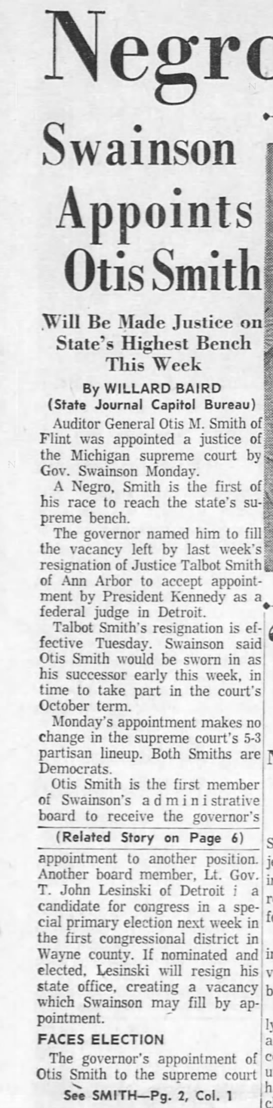 Negro Named to Supreme Court: Swainson Appoints Otis Smith -
