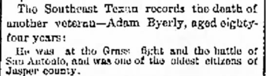 Adam Byerly death - The Galveston Daily News, 19 April 1883, page 2 -