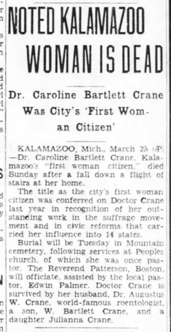 Noted Kalamazoo Woman Is Dead: Dr. Caroline Bartlett Crane Was City's 'First Woman Citizen' -