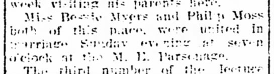 Phillip Moss and Bessie Myers Married - The Iola Register 31 Jan 1907 Page 5 -
