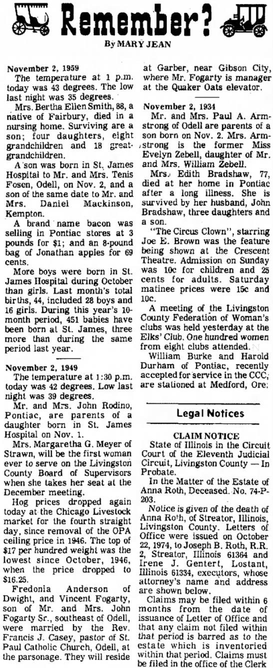 John's birth remembered, Daily Leader, 11/2/74, pg 10 -