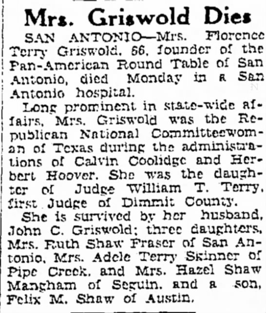 Mrs. Griswold Dies. The Brownsville Herald (Brownsville, Texas) Tues. July 8, 1941, p 16 -