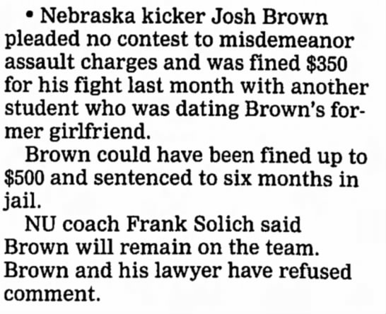 2001 Josh Brown case -
